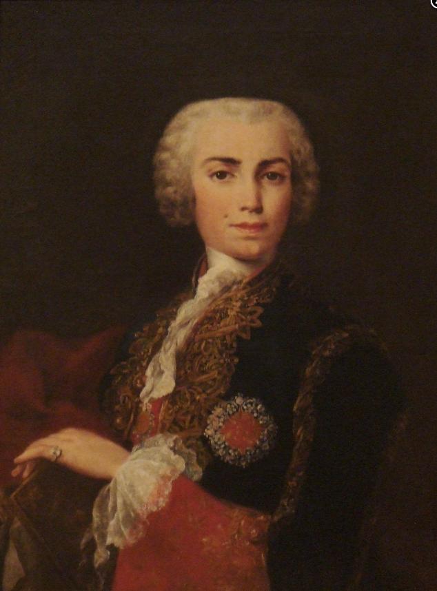 Japoco Amigoni. Retrato de Carlo Broschi, llamado Farinelli. Real Academia de Bellas Artes de San Fernando. Madrid. En este retrato se le representa con la Cruz de Calatrava.