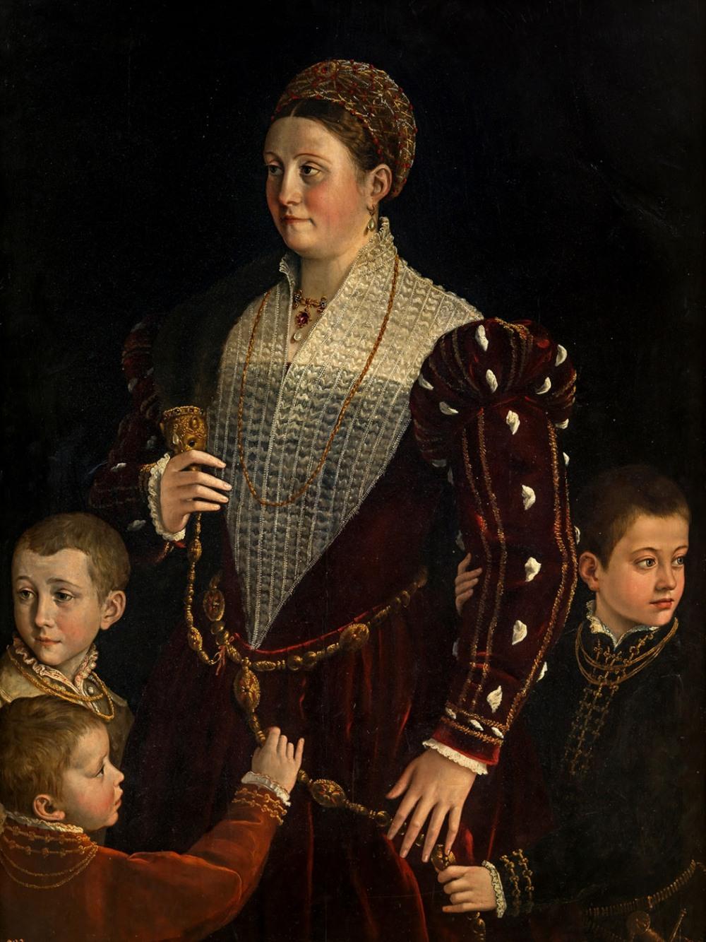 Parmigianino y taller. Camilla Gonzaga, condesa de San Segundo, y sus hijos. 1535-1537. Museo Nacional del Prado. Madrid.