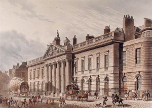 Dibujo de Thomas Hosmer Shepherd. c.1817. East India House en Leadenhall Street. Londres.