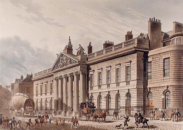 Dibujo de Thomas Hosmer Shepherd. c.1817. East India House en Leadenhall Street. Londres.
