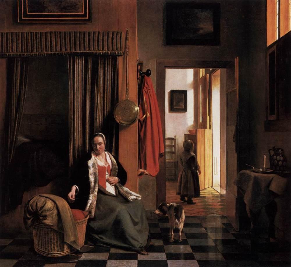 Pieter de Hooch. Mujer atándose el corpiño al lado de una cuna. Hacia 1659-1660. Gemäldegalerie. Berlín.
