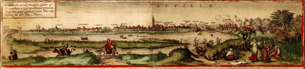 Civitates Orbis Terrarum. Braun y Hogenbert. 1572. Vista de Sevilla desde el Aljarafe