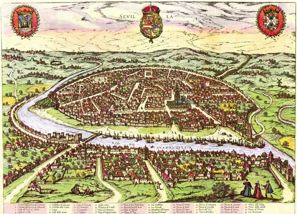 Braun y Hogenbert. Civitates Orbis Terrarum. Vista de Sevilla desde el Aljarafe. 1588