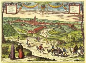 Civitates Orbis Terrarum. Braun y Hogenbert. 1598. Vista de Sevilla desde el Aljarafe 1