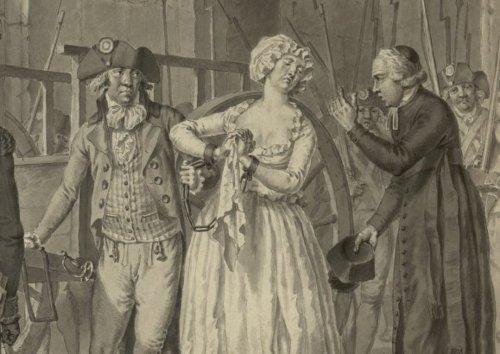 Maria Antonieta conducida al cadalso. Grabado.