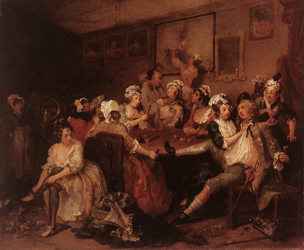 William Hogarth. La Orgía. La carrera del libertino. Escena 3. c. 1735. Sir John Soane´s Museum. Londres.