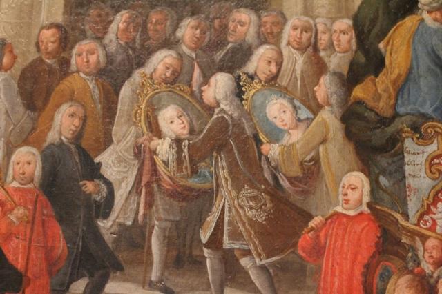 Domingo Martínez. Carro del Víctor y el Parnaso. Detalle de la entrega de los retratos de los Reyes al Ayuntamiento. (Hacia 1748). Museo de Bellas Artes de Sevilla.