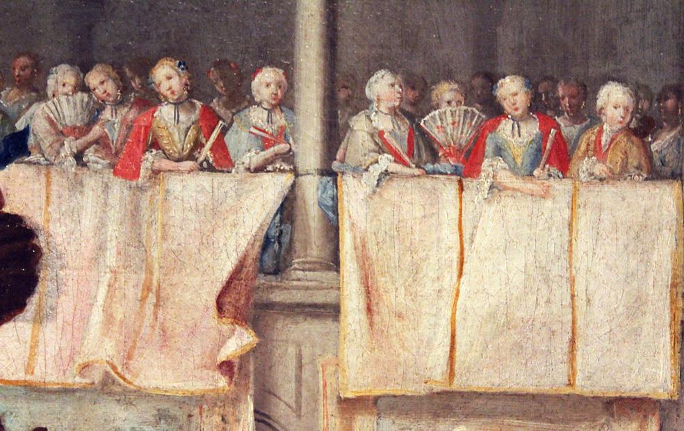 Domingo Martínez. Carro del Parnaso. Detalle de las damas asomadas a los balcones presenciando el espectáculo. (Hacia 1748). Museo de Bellas Artes de Sevilla.