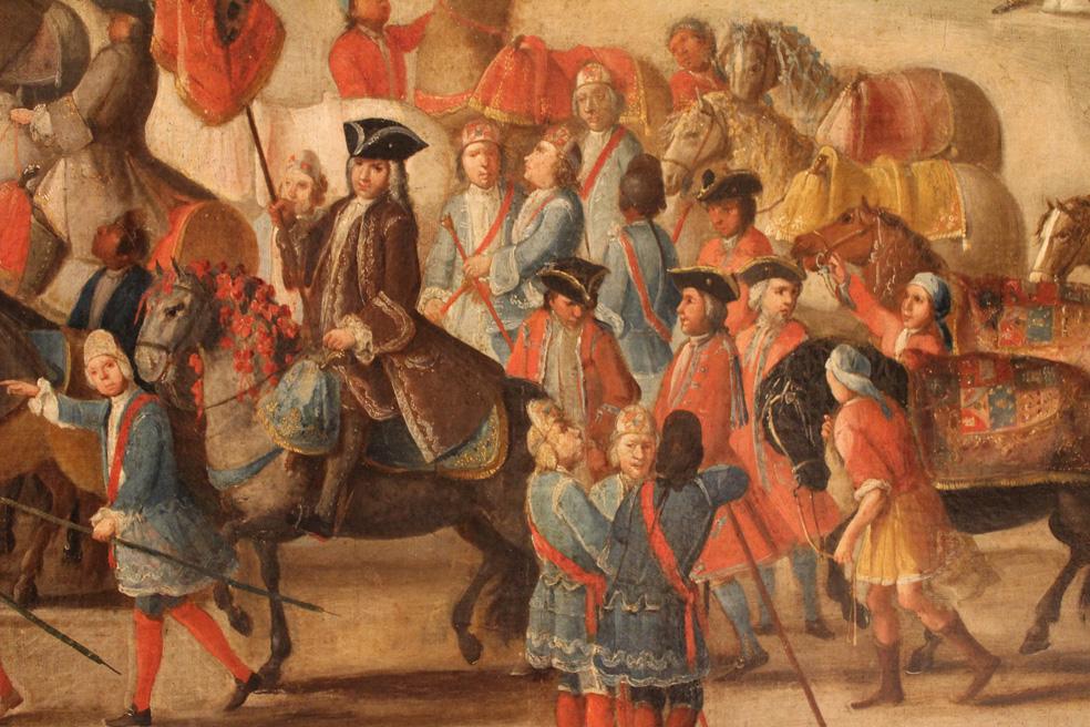 Domingo Martínez. Carro del Pregón de la Máscara. Detalle de José Antonio de Losada, director de la Fábrica de Tabacos que porta el Pendón Real. (Hacia 1748). Museo de Bellas Artes de Sevilla.