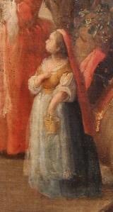 Domingo Martinez. Detalle del carro de la tierra. 1748. Museo Bellas Artes. Sevilla. Podemos apreciar como la niña lleva mantilla roja.