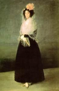 Francisco de Goya Condesa de La Solana. 1794-95. Museo del Louvre. Paris. La dama lleva un enorme lazo en la cabeza y la mantilla a modo de chal.