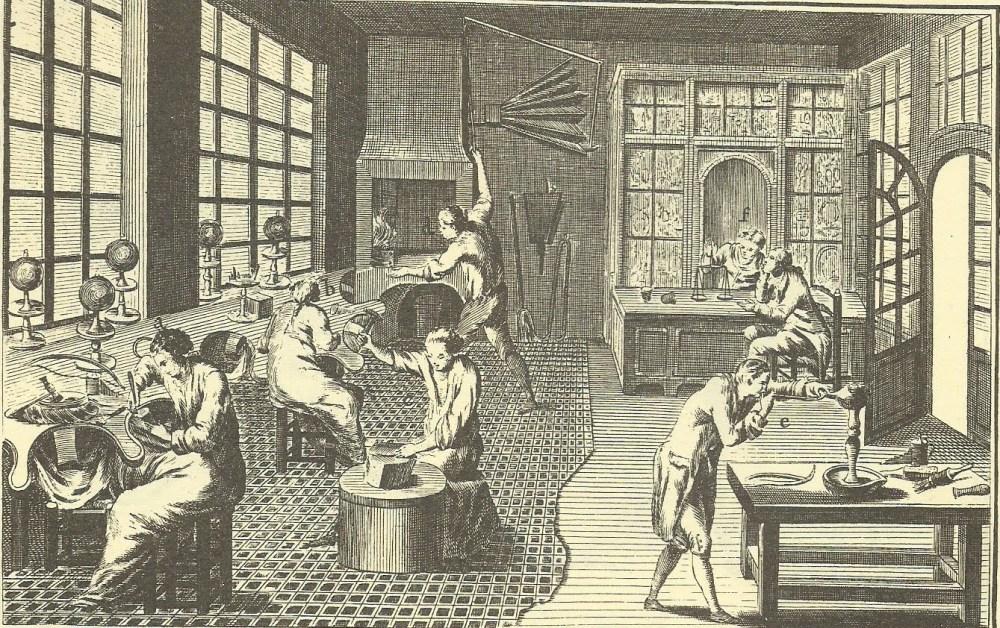 Diderot y D'Alembert. Enciclopedia francesa.Taller de Joyería. Entre 1751 y 1772. Francia