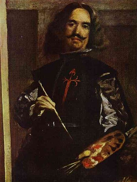 Diego Velázquez. Las Meninas. Detalle. 1656. Museo del Prado. Madrid. El genial artista luce en su pecho la cruz de Santiago.