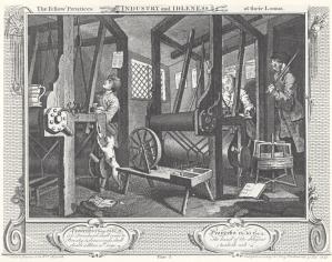 William Hogarth. La industria y la ociosidad, placa 1 Los aprendices compañeros en sus telares..