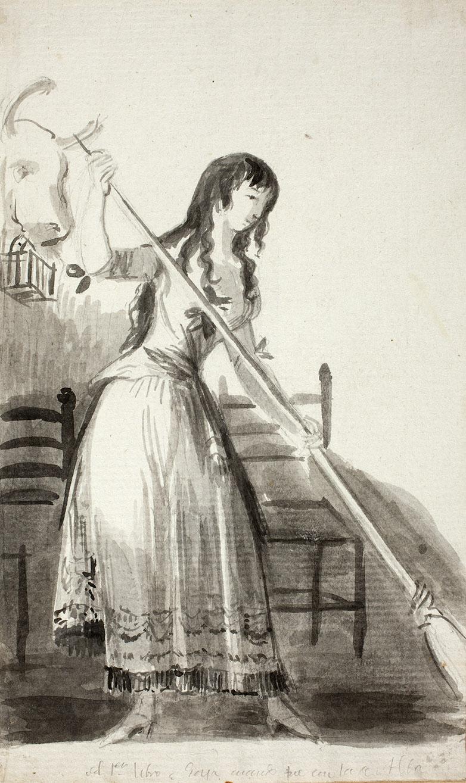 """Francisco de Goya."""" Joven barriendo"""". Álbum de Sanlúcar o Álbum A. 1794-1795. Museo del Prado."""