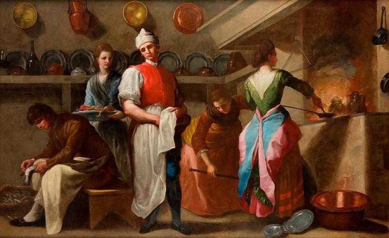 Ramón Bayeu. La cocina. 1793 .Propiedad de Juan Antonio Pérez Simón. En depósito en el Museo de Bellas Artes de Oviedo.