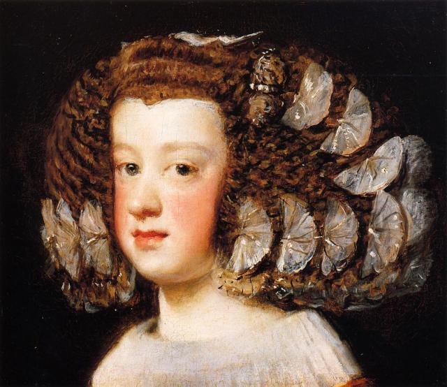 Diego Velázquez. Infanta María Teresa. 1651. Metropolitan Museum, Nueva York. En este precioso retrato de la futura mujer de Luis XIV apreciamos claramente como el colorete se extendía por toda la superficie de las mejillas hasta el mentón.