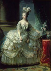 Elisabeth Vigée-Lebrun.María Antonieta en traje de corte. 1778. Museo de Viena. La reina luce una creación de Rose Bertin.