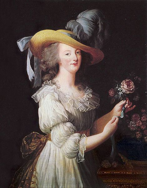 """Elisabeth Vigée-Lebrun. La reina María Antonieta. 1783. Museo de Versalles. María Antonieta luciendo la polémica """"robe chemise"""" hecha por Bertin."""