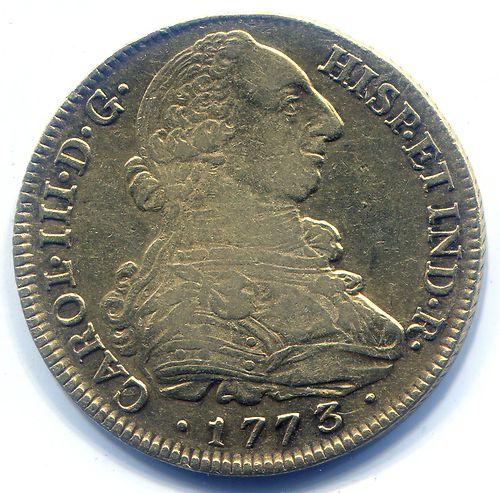 Moneda de ocho escudos de oro. Carlos III. 1773.