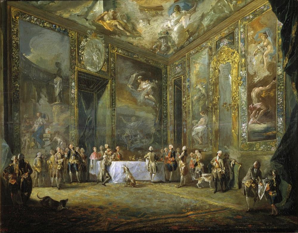 Luis Paret. Carlos III comiendo ante su corte. 1775. Museo de Prado. Madrid.
