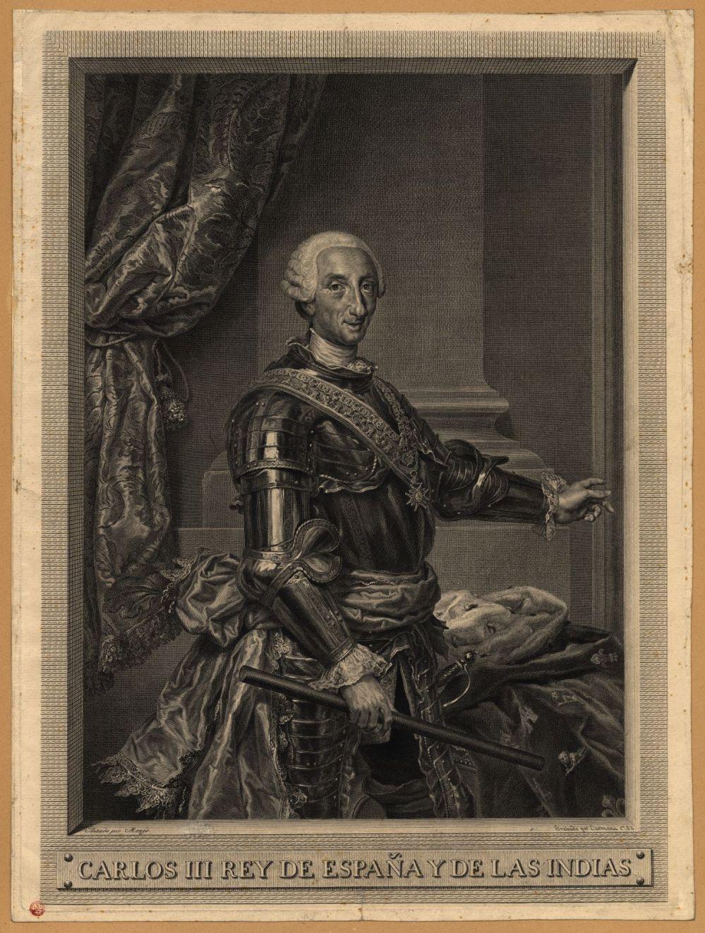 Manuel Salvador Carmona. Retrato de Carlos III. Grabado sobre el retrato de Anton Rafael Mengs. 1783. Biblioteca Nacional de Portugal. Lisboa.
