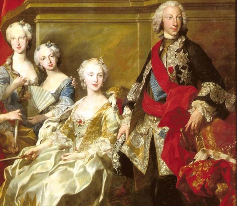 Van Loo. Familia de Felipe V. Detalle. 1743. Museo del Prado. Madrid.