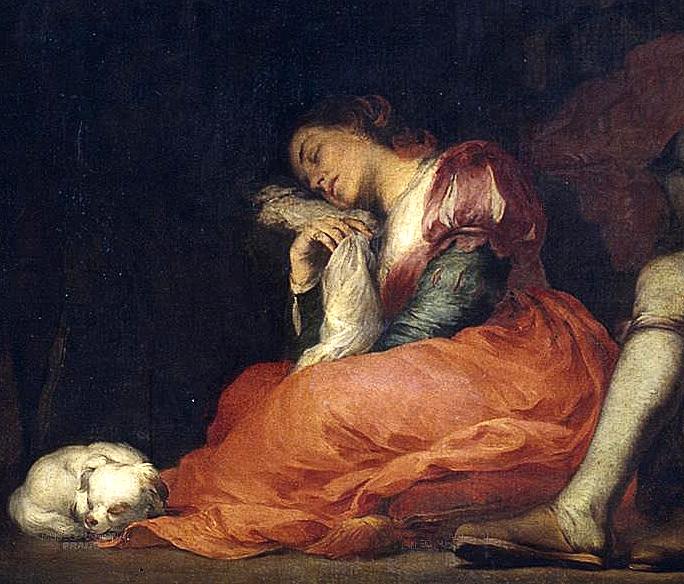 Bartolomé Esteban Murillo. Sueño del patricio. Detalle mujer. Hacia 1663. Museo del Prado. Madrid.