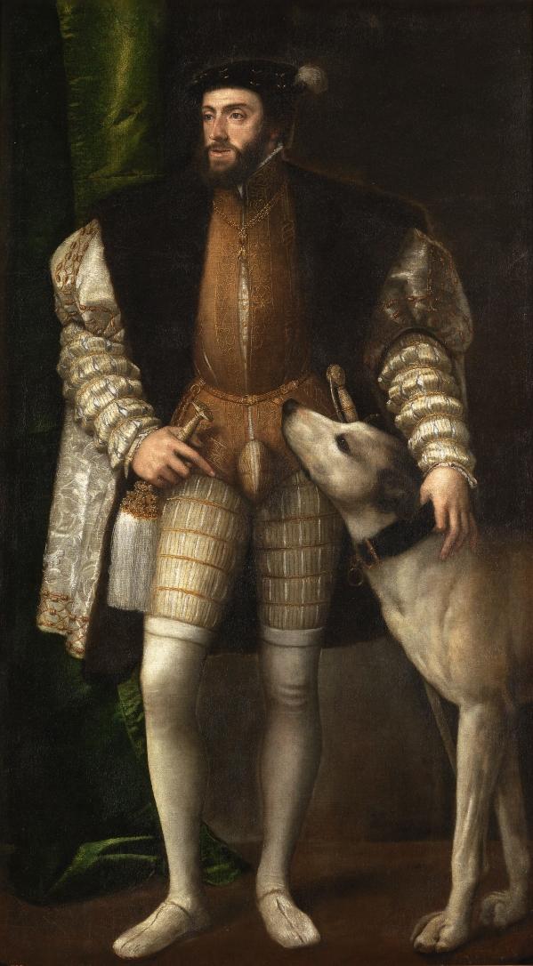 Tiziano Vecellio. Retrato de Carlos V con perro. 1533. Museo Nacional del Prado. Madrid.