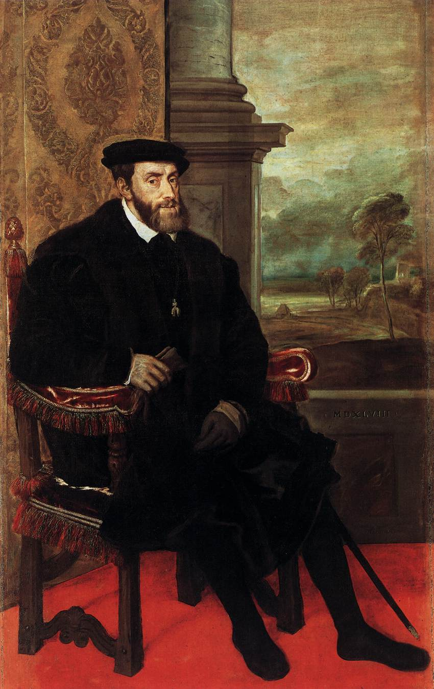 Tiziano Vecellio. Retrato de Carlos V sentado. 1548. Alte Pinakothek. Munich.