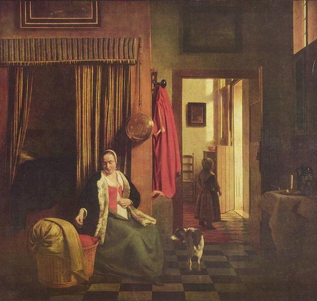 Pieter de Hooch. Madre enlazando su corpiño al lado de una cuna. Hacia 1659-1660. Museo Municipal. Berlín