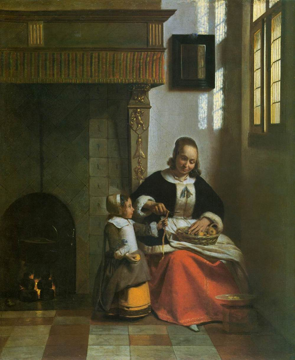 Pieter de Hooch. Mujer pelando manzanas. 1663. Wallace Colection. Londres.