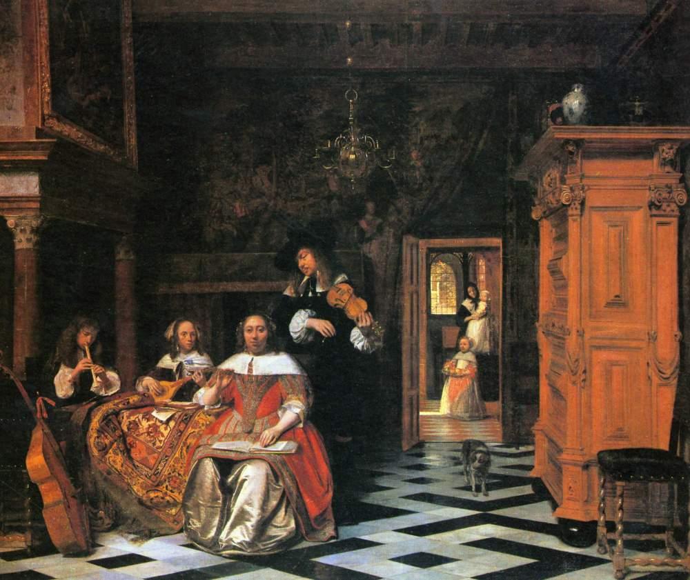 Pieter de Hooch. Retrato de una familia tocando musica. 1663. Cleveland Museum.