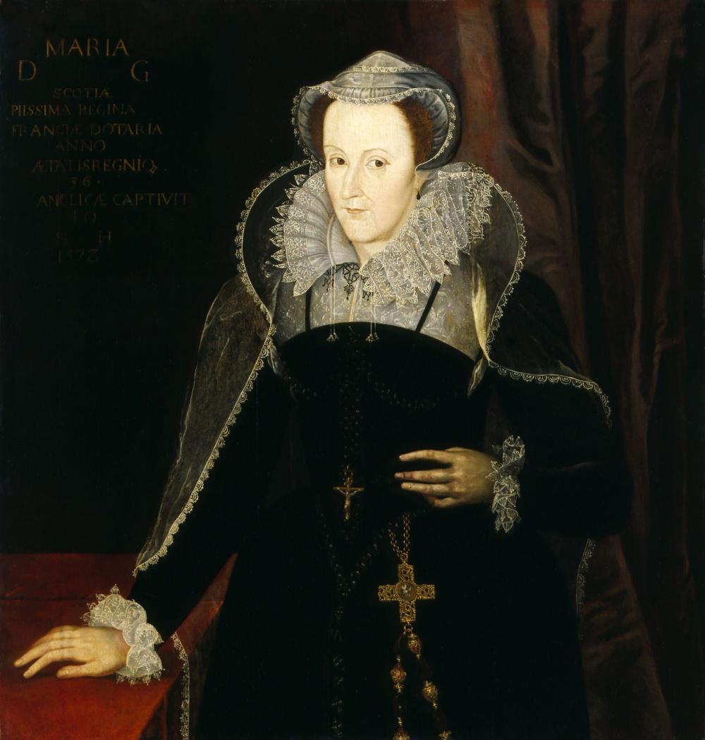Anonimo después del retrato de Nicolas Hilliard. 1578.  María, Reina de Escocia durante su cautiverio . Este retrato es uno de muchos retratos de la reina de Escocia durante su cautiverio en Inglaterra.