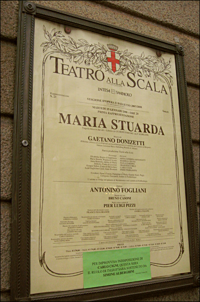 Cartel de la opera Maria Estuardo. Teatro de la Escala de Milán.