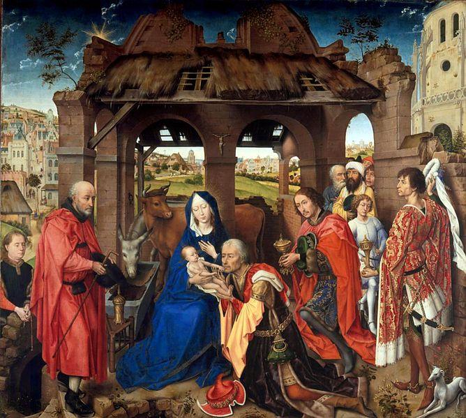 Roger van der Weyden. Adoración de los Magos.Panel central del altar de San Columba. Hacia 1455. Alte Pinacothek. Munich.