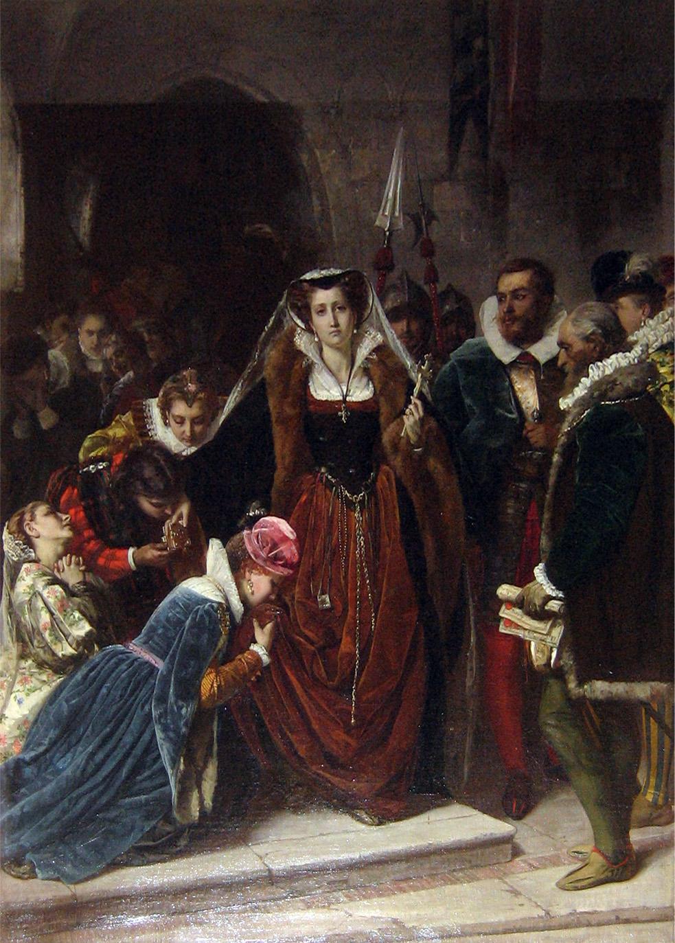 Scipione Vannutelli.Maria Estuardo camino del patíbulo. Cuadro ganador de la exposición de Florencia de 1861. Galeria de arte moderno. Florencia.
