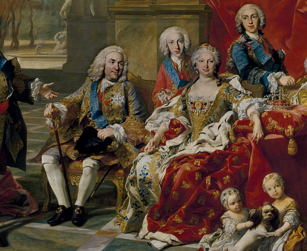 Louis Michel van Loo. La familia de Felipe V. 1743. Detalle. Museo del Prado. Madrid.