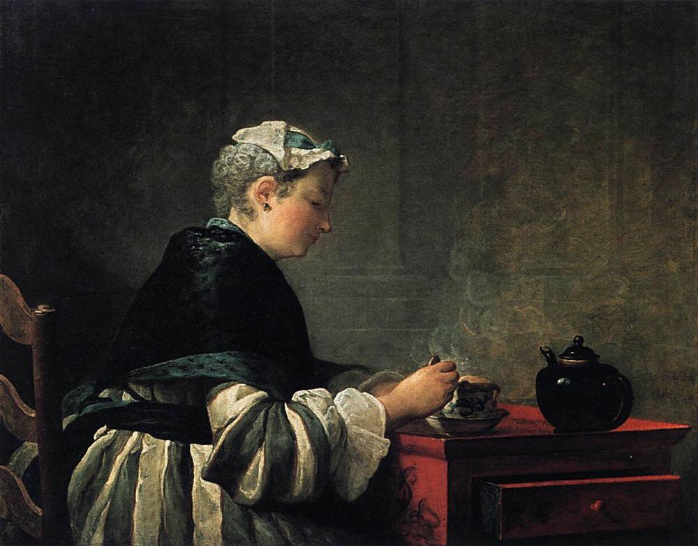 Jean-Baptiste-Siméon Chardin. Mujer tomando té. 1735. Hunterian Museum and Art Gallery. Glasgow.