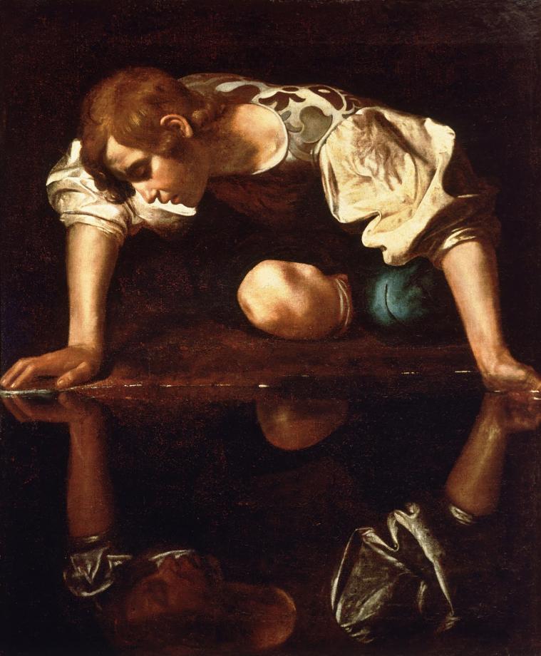 """Michelangelo Merisi. """"Caravaggio"""". Narciso.1594-1596. Galería Nacional de Arte Antiguo. Roma."""