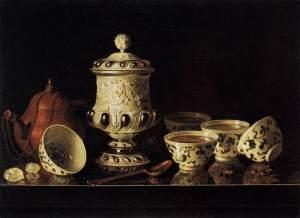 Pieter Gerritsz van Roestraeten. Bodegón con juego de te chino. Segunda mitad del siglo XVII. Gemäldegalerie. Berlin