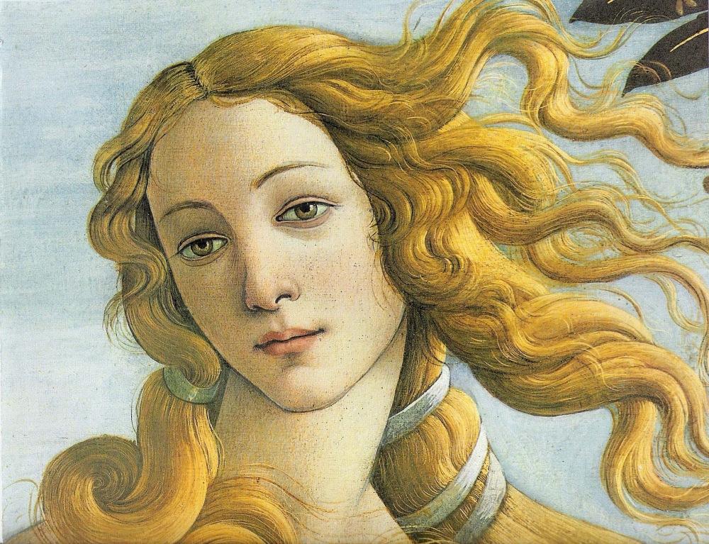 Sandro Botticelli. Nacimiento de Venus. Detalle. Fecha. Galería Uffici. Florencia