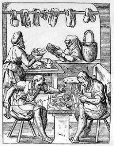 Tienda de zapatos del siglo XVI.