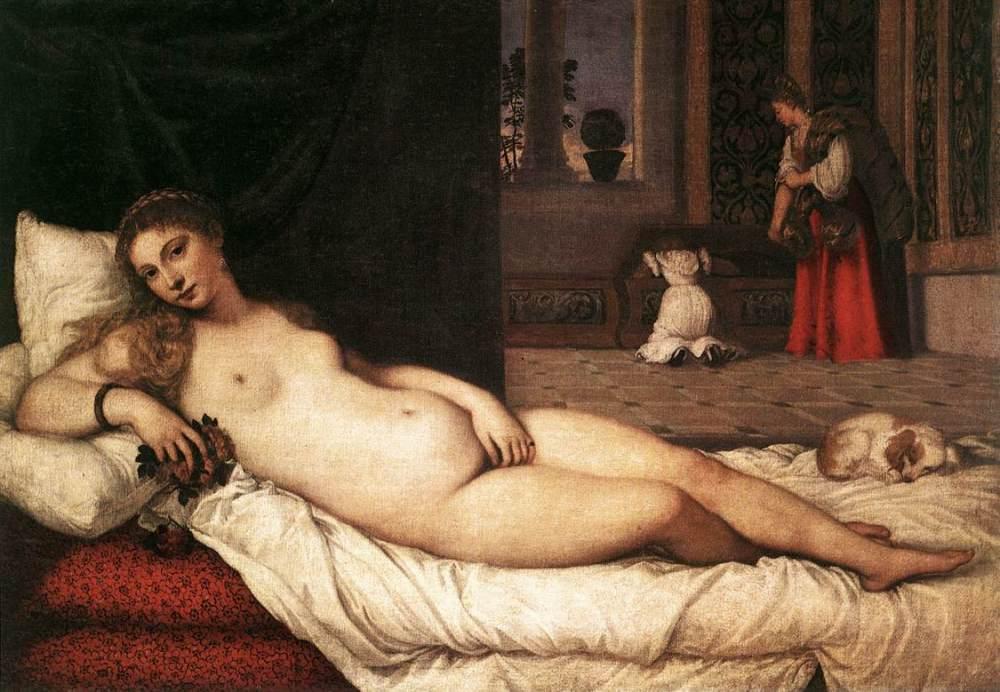 Tiziano Vecellio. La venus de Urbino. 1530. Galeria de los Uffizi. Florencia.