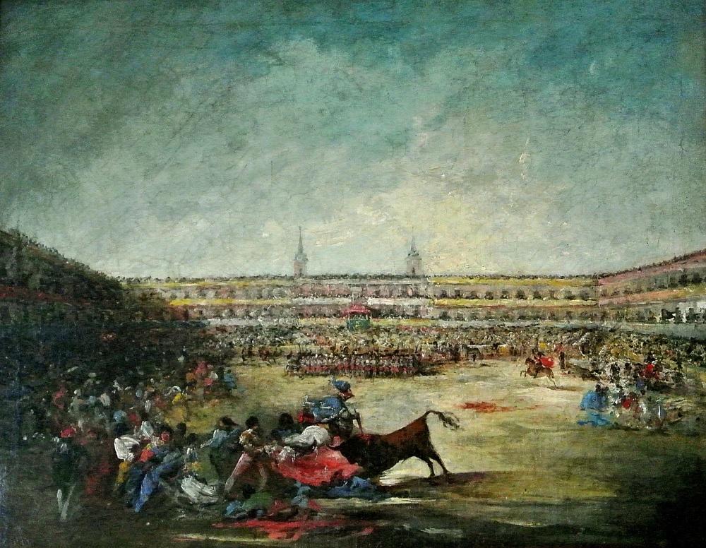 Eugenio Lucas Velázquez. Corrida de toros en la plaza Mayor de Madrid. Mediados siglo XIX. Colección particular.