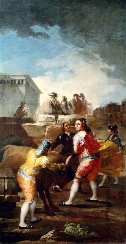 Francisco de Goya. La novillada. Cartón para tapiz. Hacia 1780. Museo del Prado.