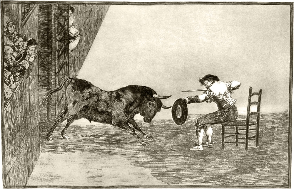 Francisco de Goya. Temeridad de Martincho en la plaza de Zaragoza. Tauromaquia. Estampa 18. 1816. Museo del Prado.