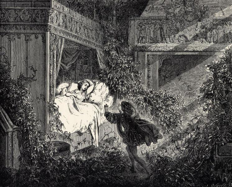 Gustave Doré. La bella durmiente del bosque. Ilustración de los cuentos de Perrault. 1867