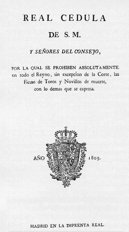 Real Cédula prohibición de los toros.1805.