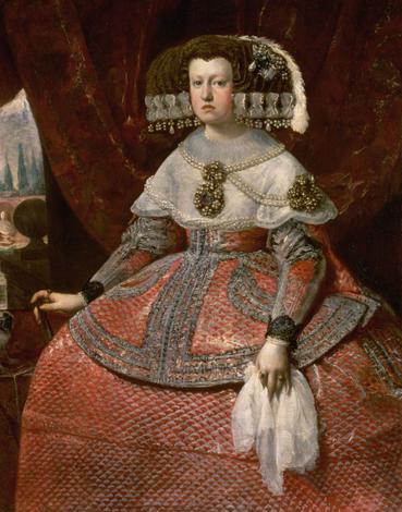 Diego Velázquez. La reina de España Marian de Austria con vestido rojo brillante. 1655-60. Kunsthistorisches Museum. Viena.
